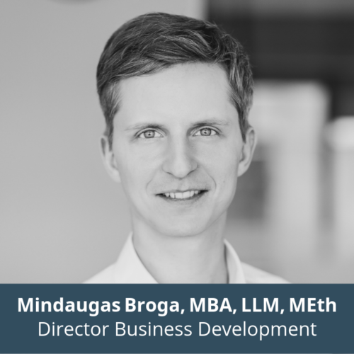 Mindaugas Broga, MBA, LLM, MEth, Director Business Development